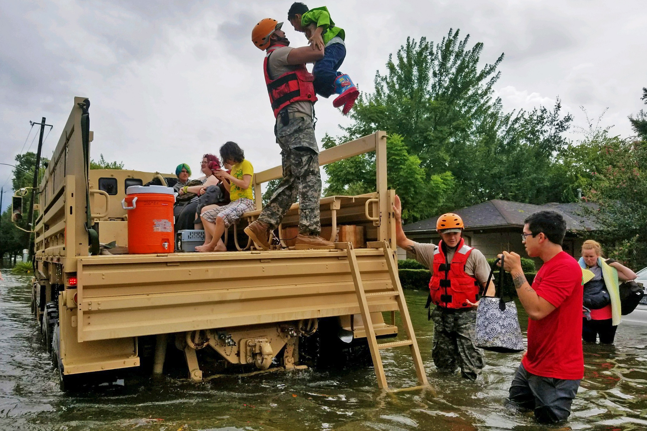 Texas National Guard Soldiers rescue Texans in Flooded Areas